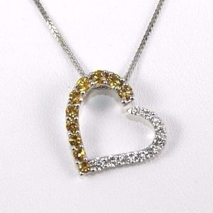 Jewelry - Diamond & Sapphire Necklace Pendant 18K WG 1.00Ct